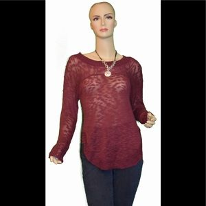 Rebellious.One Deep red  V-neck Tunic Sweater